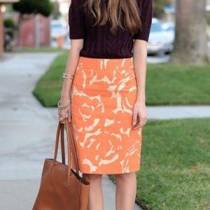 J.Crew Linen Orange and Gold Pencil Skirt